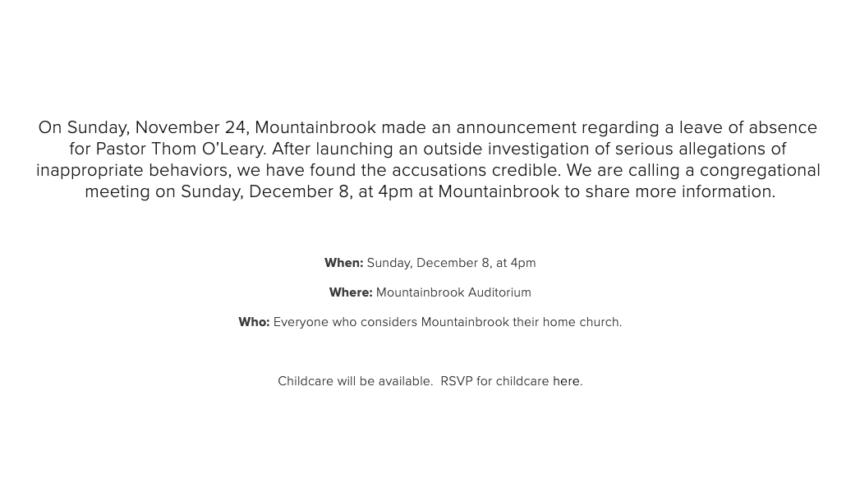 Mountainbrook gives statement