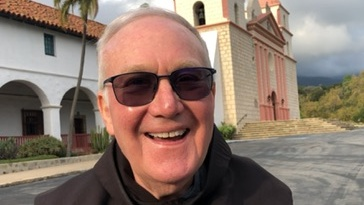 Father Larry is using physical distancing, videotaping messages of hope to the community. (KEYT Photo)
