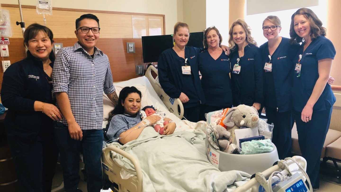 MRMC Nursing Staff Present Gift Basket to First Baby of 2020