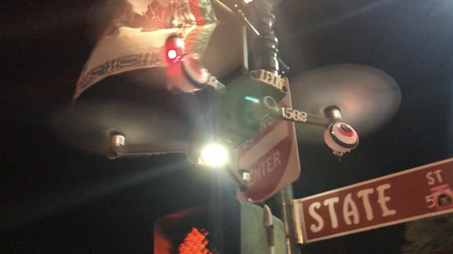A low flying drone buzzed pedestrians and vehicles in downtown Santa Barbara Saturday night.