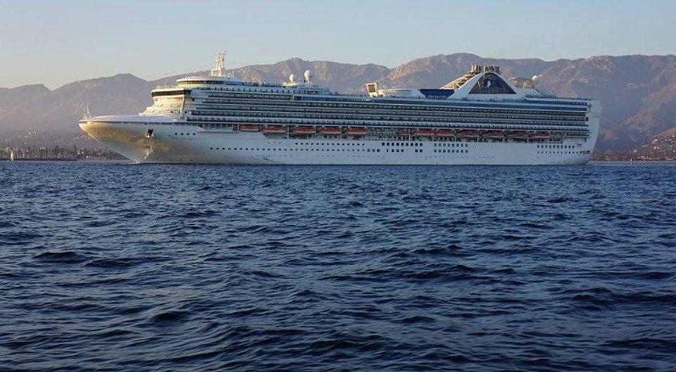 The Grand Princess cruise ship docked off the coast of Santa Barbara during an earlier visit.