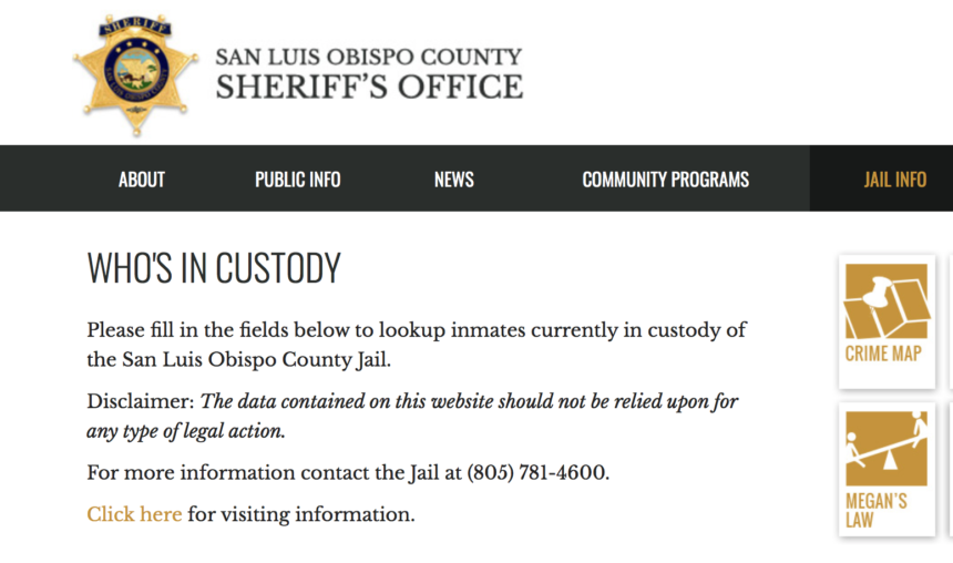 SLO Sheriff's Website