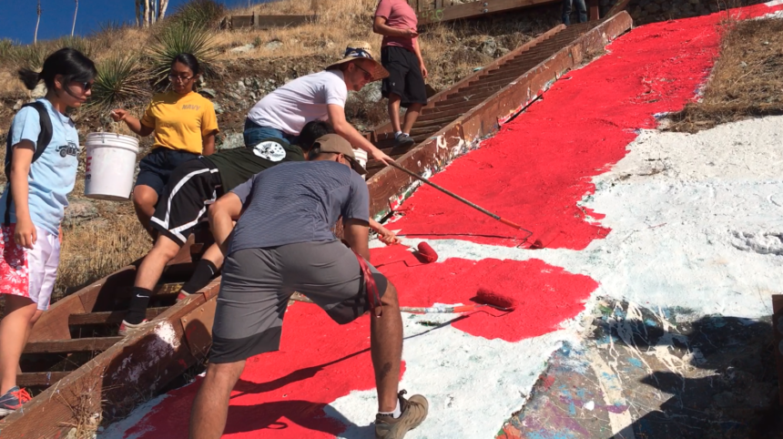 cal poly p painted red