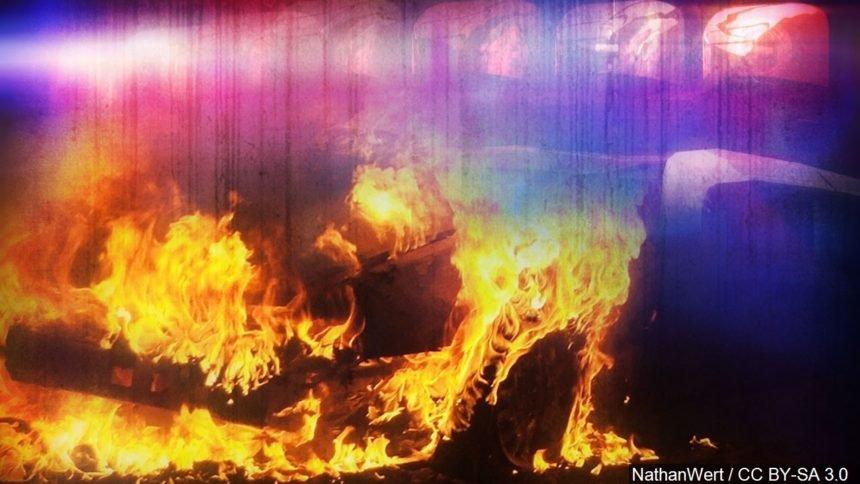 traffic crash car fire collision generic