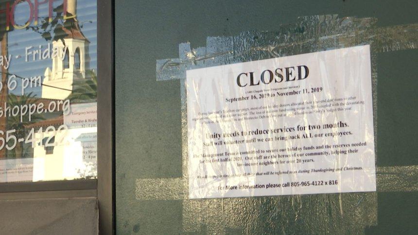Unity Shoppe closed sign