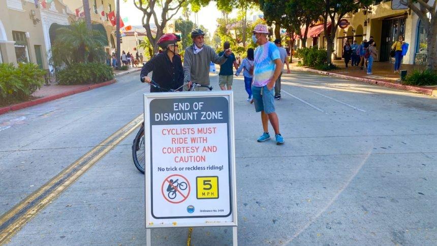 Bicycle dismount zone