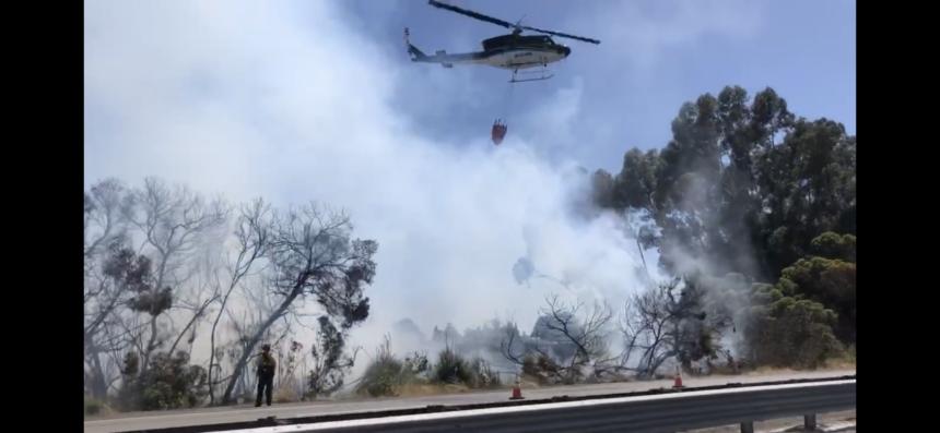Freeway fire Goleta Fairview Los Carneros