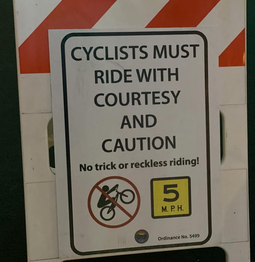 Bike rider sign