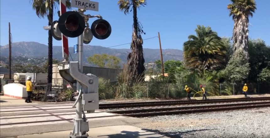 palm fire near railroad