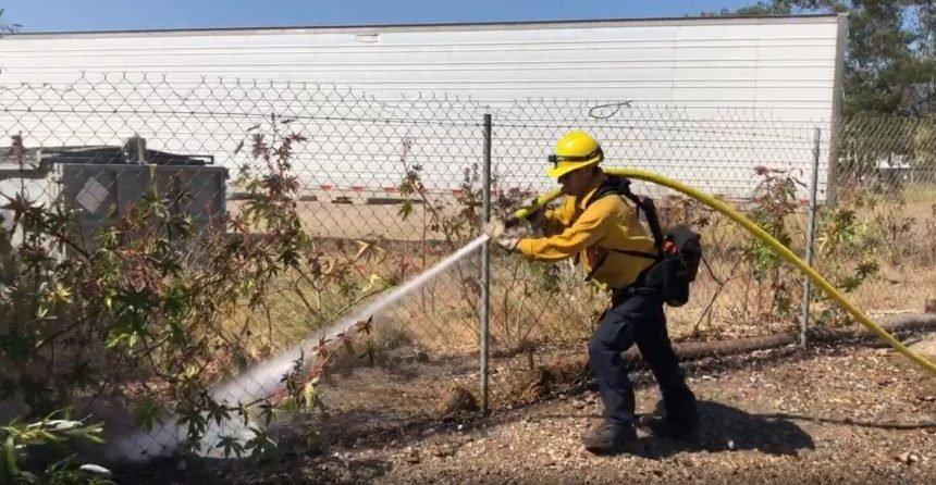 sb fire fighter spraying palm fire