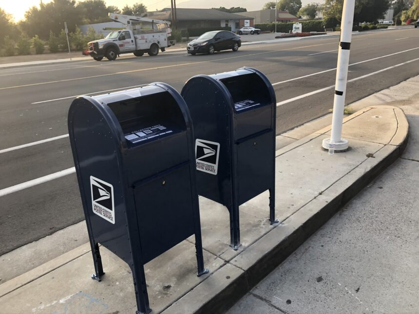 USPS mail boxes outside Goleta Post Office