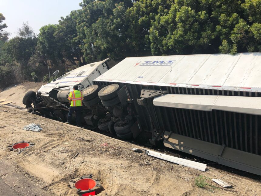 Truck rolls into ditch Ventura SR 126