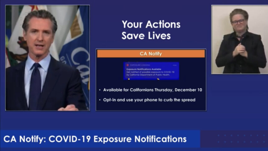 California Gov. Gavin Newsom (D) introduces CA Notify smartphone tool to help track possible Coronavirus exposure.