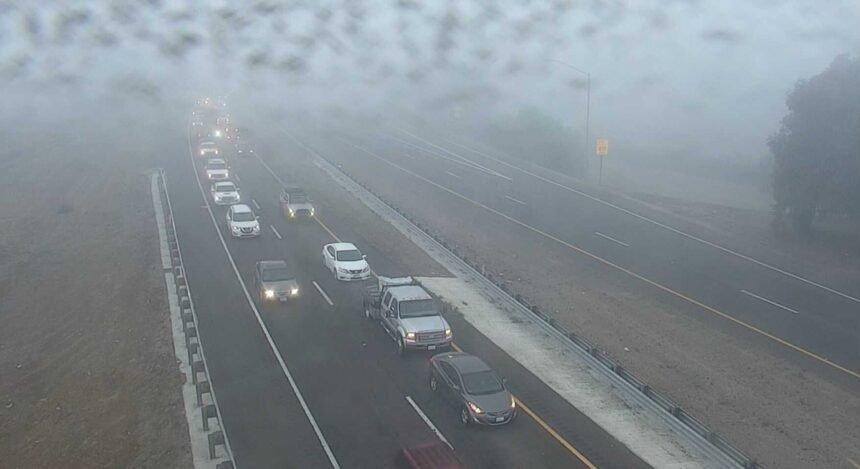Dense Fog cause Traffic in SLO Pedestrian Hit