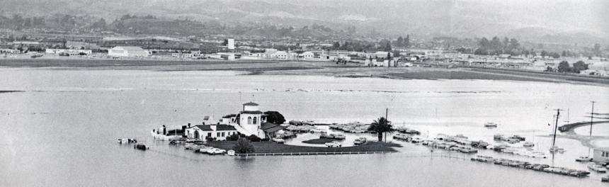 flooding at Santa Barbara Airport in 1967 January