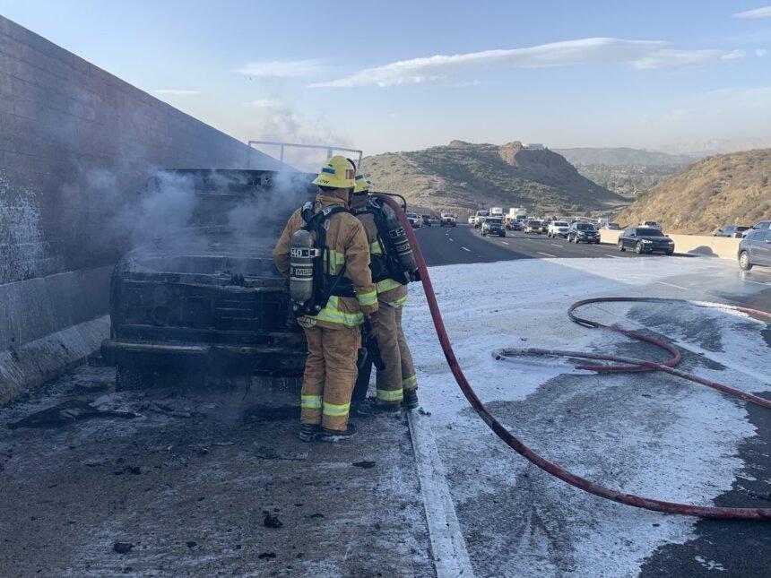 Highway 101 car fire Camarillo