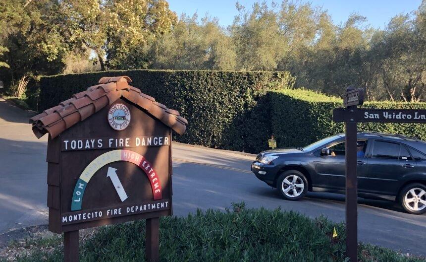Fire danger sign in Montecito