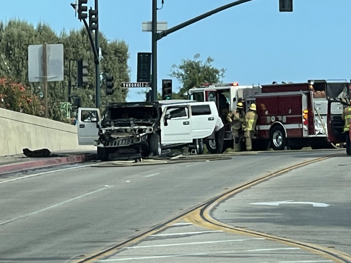 A limo caught fire in Santa Barbara