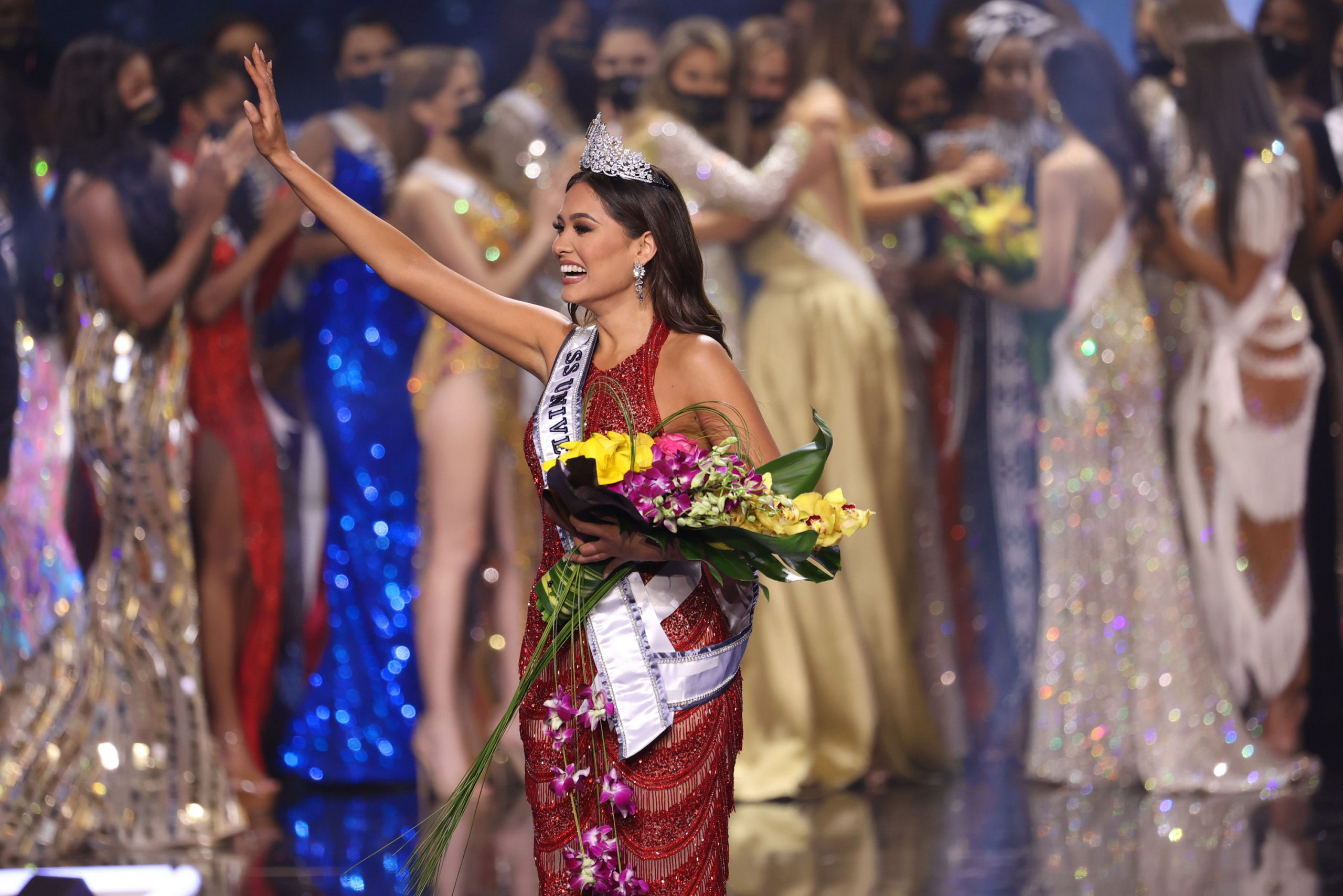Miss Mexico Andrea Meza is crowned Miss Universe 2021 onstage at the Miss Universe 2021 Pageant at Seminole Hard Rock Hotel & Casino on May 16, 2021 in Hollywood, Florida.