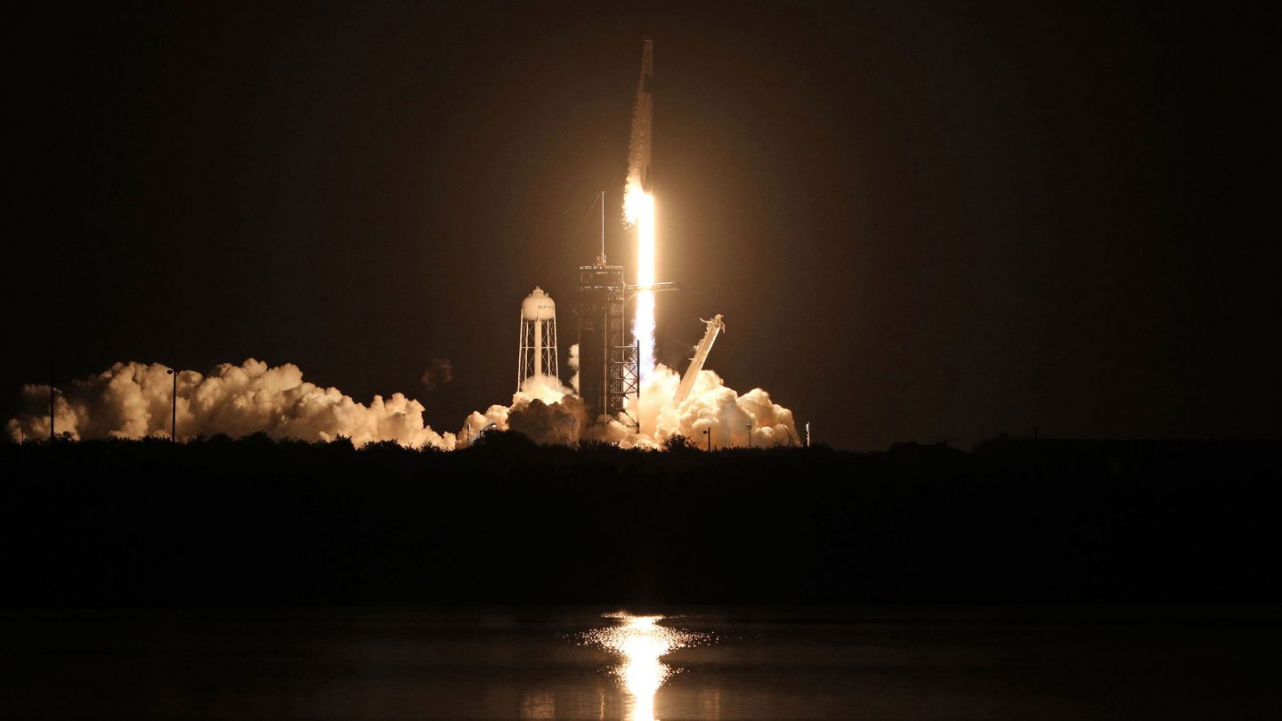 A SpaceX Falcon 9 rocket lifts off from launch complex 39A at the Kennedy Space Center in Florida on November 15, 2020. - (Photo by GREGG NEWTON/AFP via Getty Images)