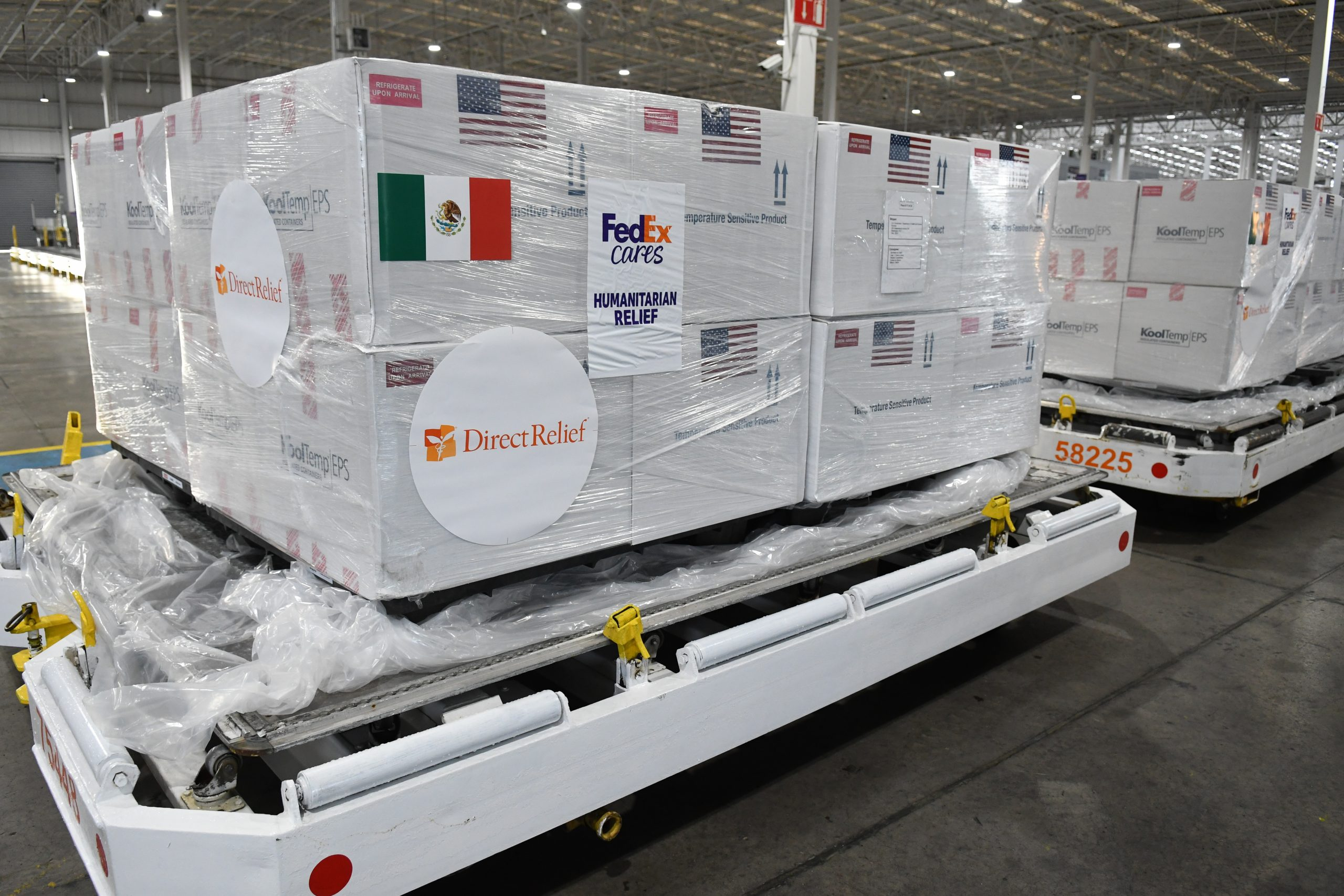 Johnson & Johnson COVID-19 vaccines move through the FedEx Express Cold Chain Center at the FedEx Express World Hub.
