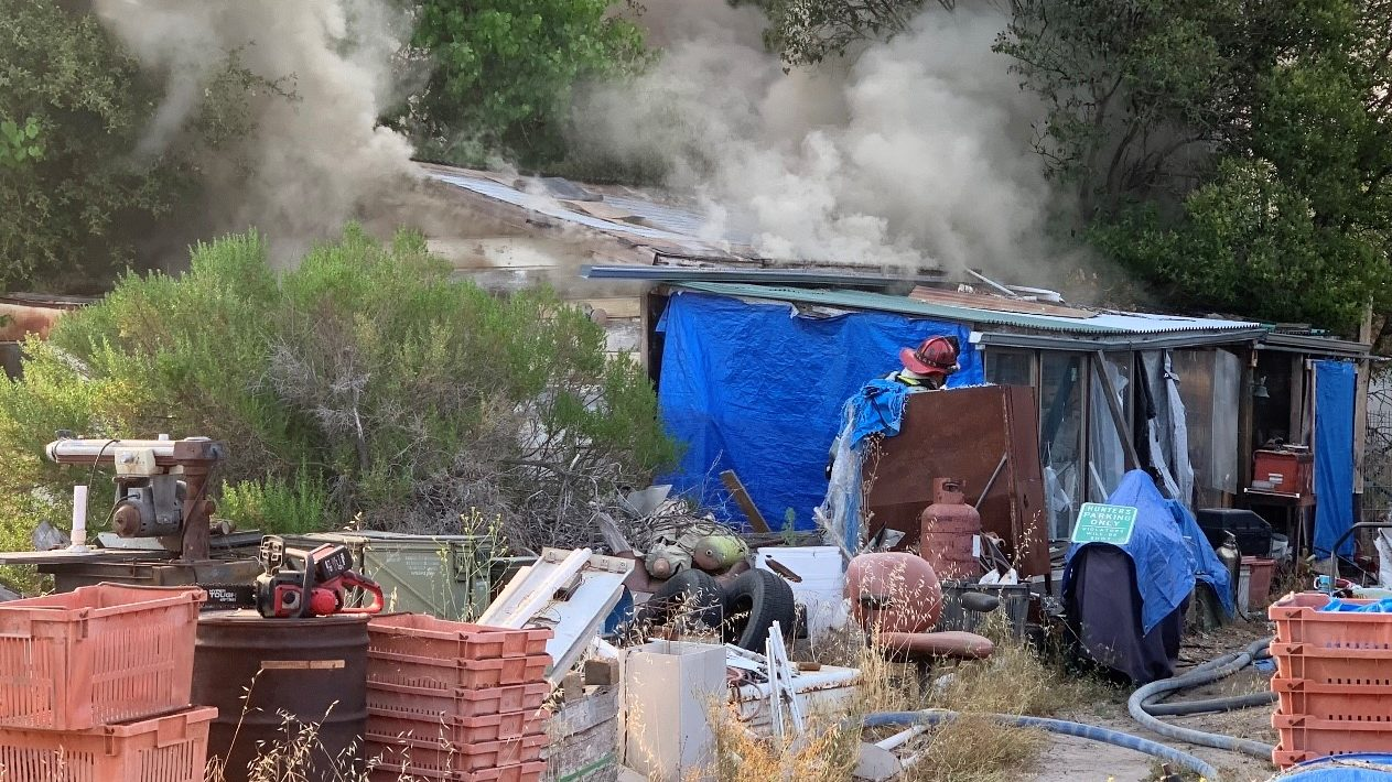 Atascadero firefighters put out a fire in a structure Wednesday