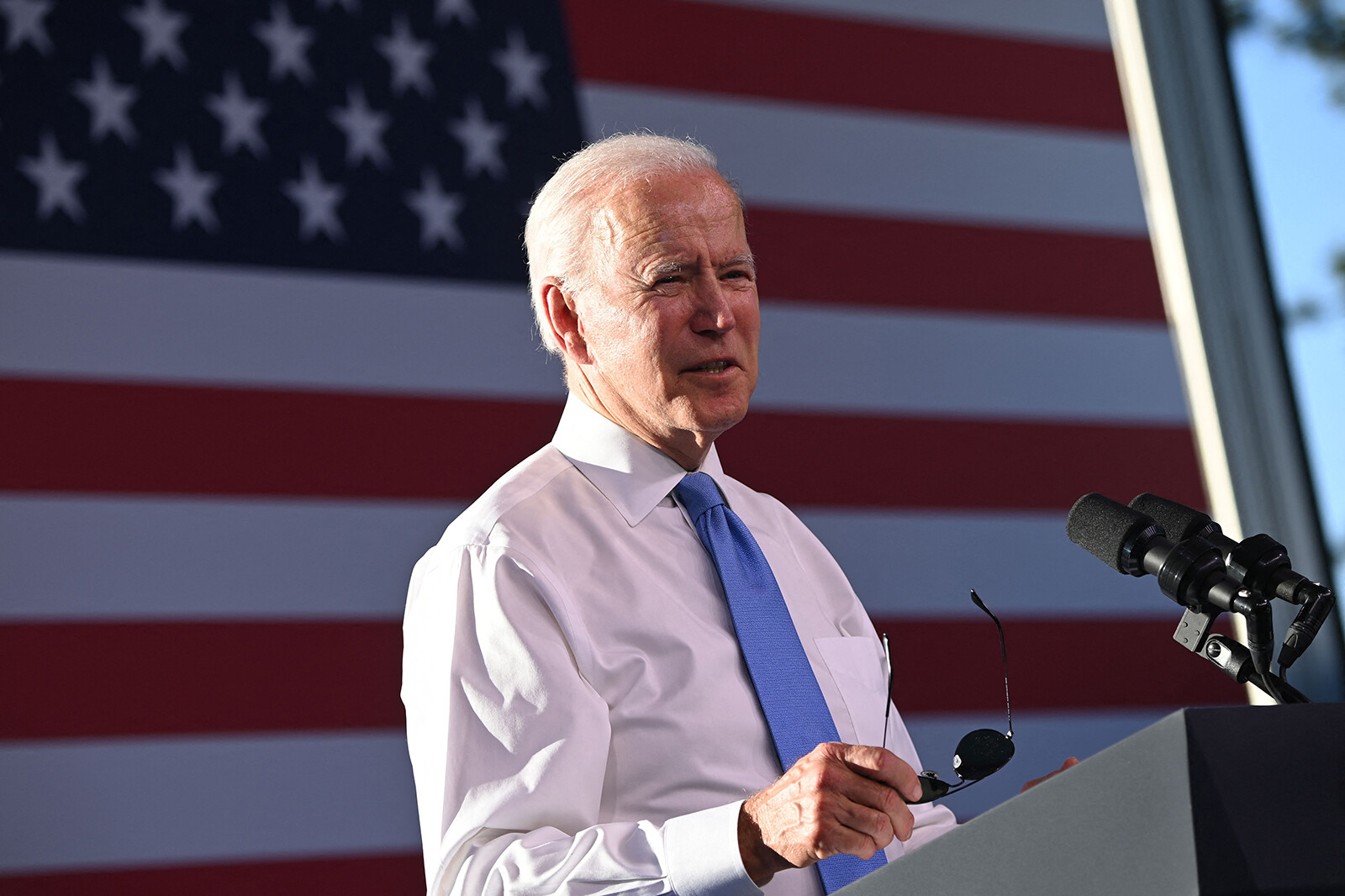 <i>Brendan Smialowski/AFP/Getty Images</i><br/>President Joe Biden will tour a mobile vaccination unit and meet with frontline workers and grassroots volunteers while in Raleigh