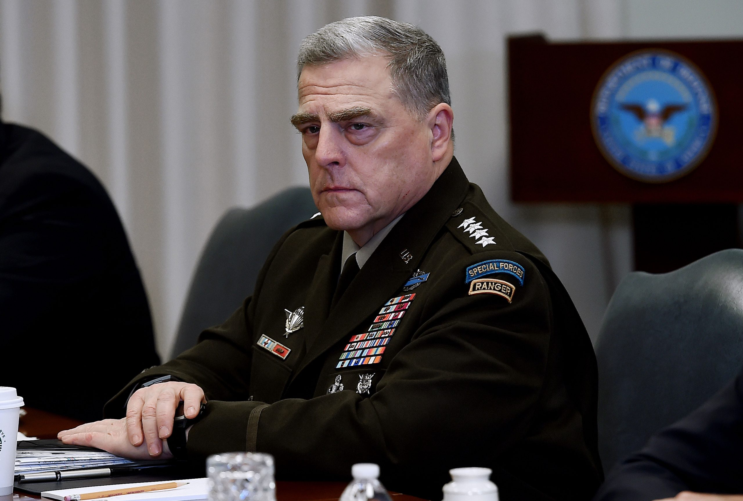 <i>Olivier Douliery/AFP/Getty Images</i><br/>Joint Chiefs Chairman Gen. Mark Milley often found he was the lone voice of opposition to those demands during heated Oval Office discussions