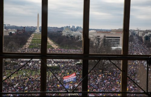 A crowd of Trump supporters gather outside as seen from inside the U.S. Capitol on January 6 in Washington