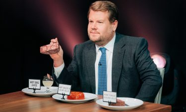 """Drew Barrymore and John Boyega play """"Spill Your Guts or Fill Your Guts"""" with James Corden during """"The Late Late Show with James Corden"""" in 2018."""
