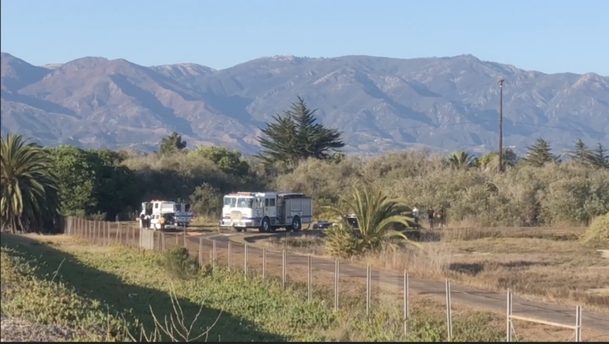 Firefighters responded to a fire burning near Goleta Beach