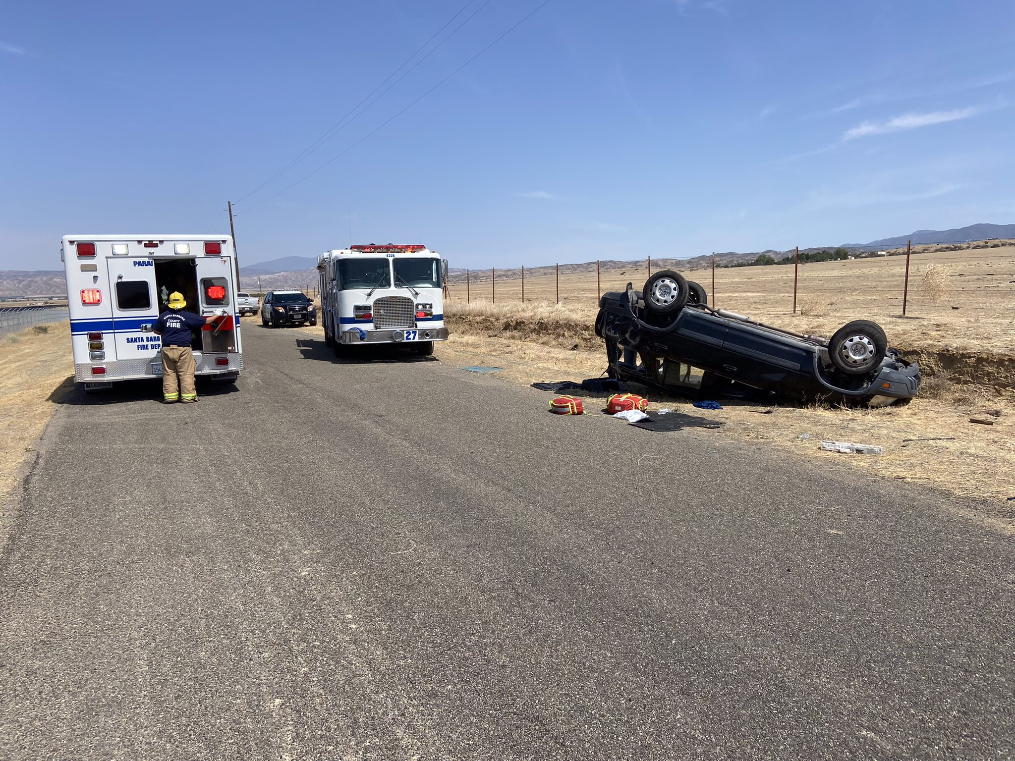 Two people were seriously injured in a rollover crash in the Cuyama Valley Friday