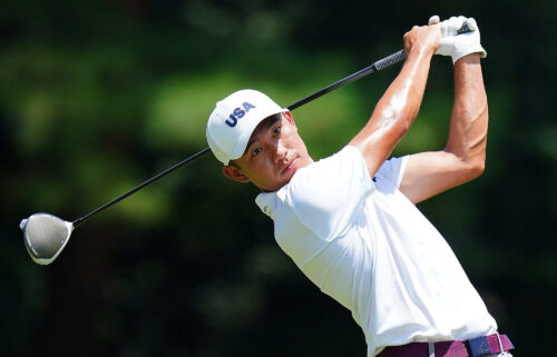 Morikawa practices ahead of the Tokyo 2020 Olympic Games golf competition.