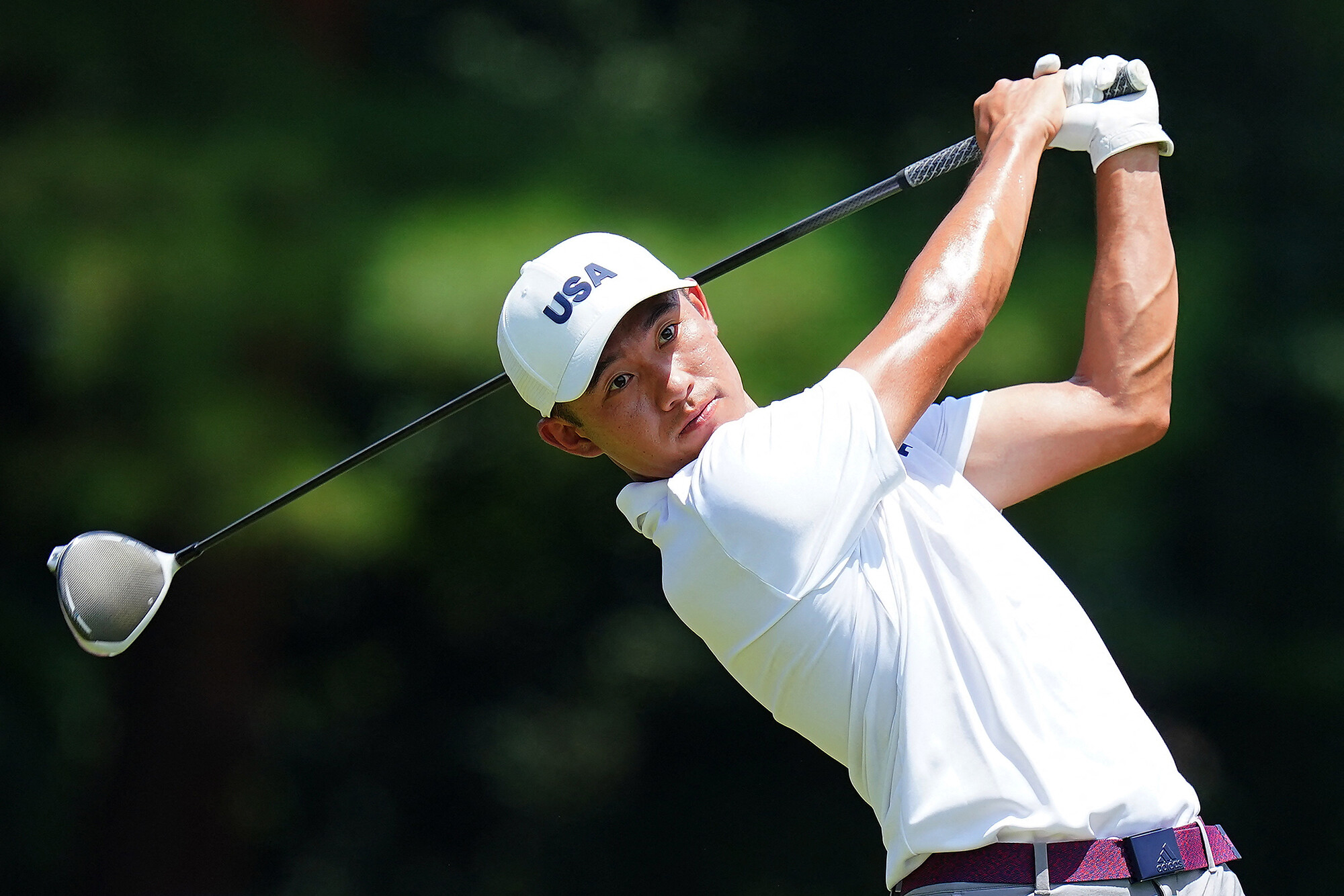 <i>Yoshihiro Iwamo/AFP/Getty Images</i><br/>Morikawa practices ahead of the Tokyo 2020 Olympic Games golf competition.