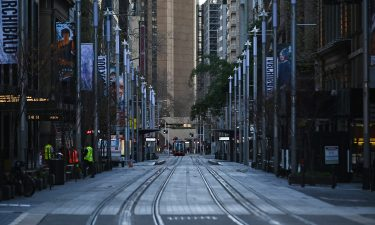 Sydney Central Business District remains empty during the first day of lockdown in Sydney