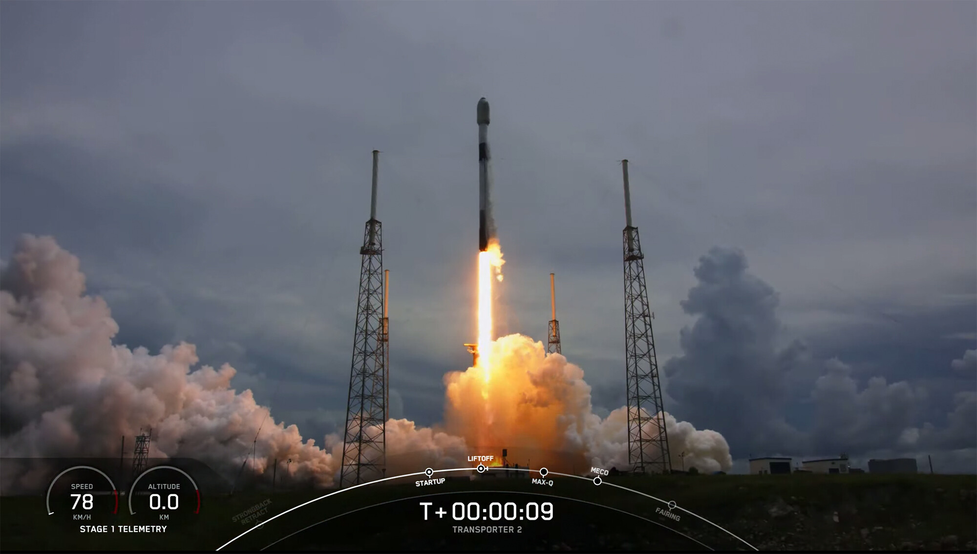<i>SpaceX</i><br/>A SpaceX Falcon 9 rocket takes off from Cape Canaveral Space Force Station with 88 satellites on board.