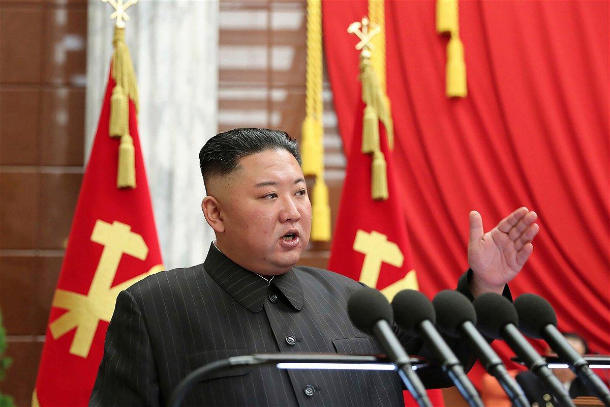 <i>Korean Central News Agency/AP</i><br/>North Korean leader Kim Jong Un speaks in Pyongyang on June 29.