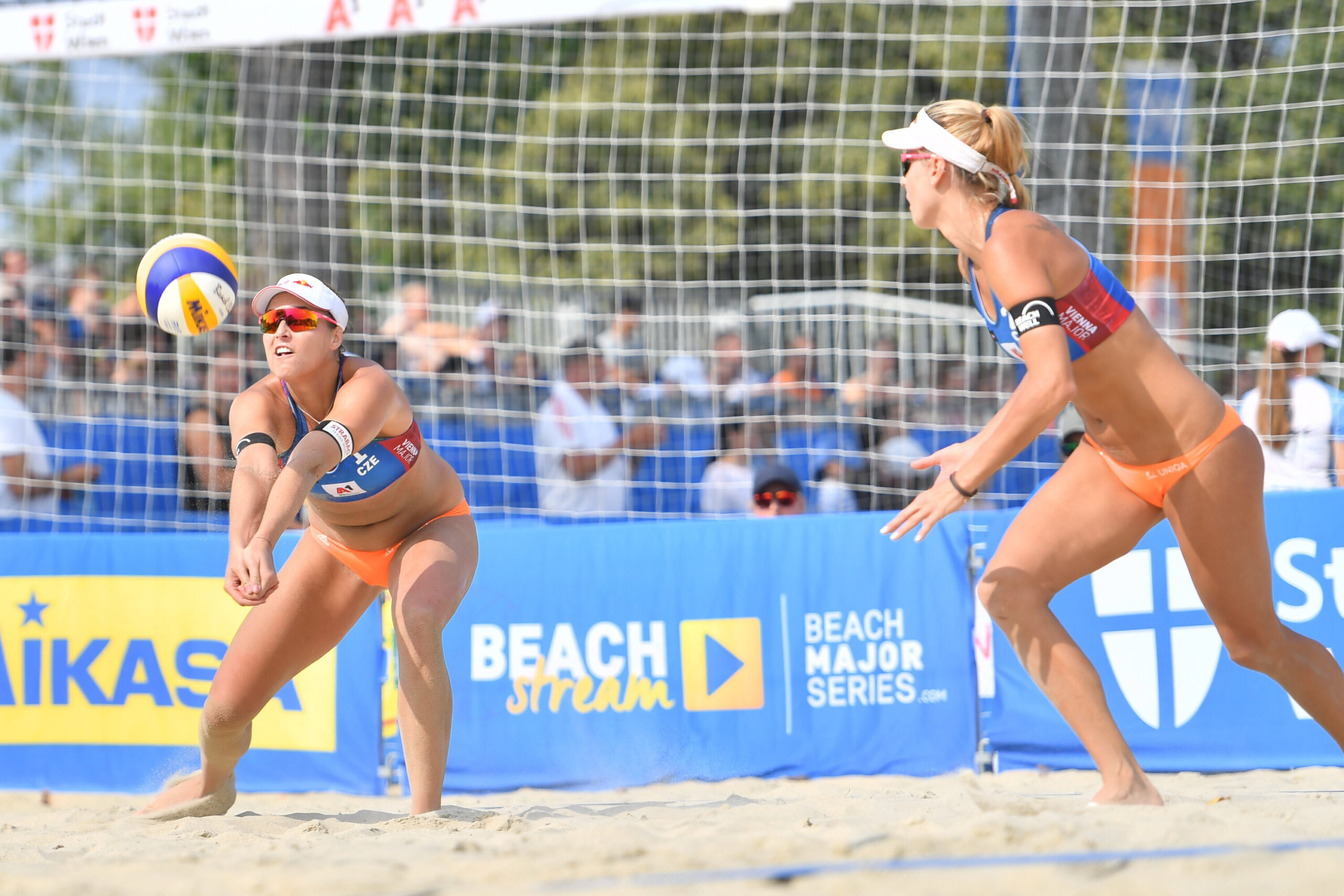 <i>Andrea Kareth/Getty Images</i><br/>Hermannova passes the ball to Sluková-Nausch. Czech beach volleyball players Markéta Sluková-Nausch and Barbora Hermannova are coming to terms with being ruled out of the 2020 Tokyo Olympic Games as the European team grapples with a growing Covid-19 problem.