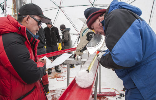 Ice core samples were taken from the Guliya ice cap in 2015.