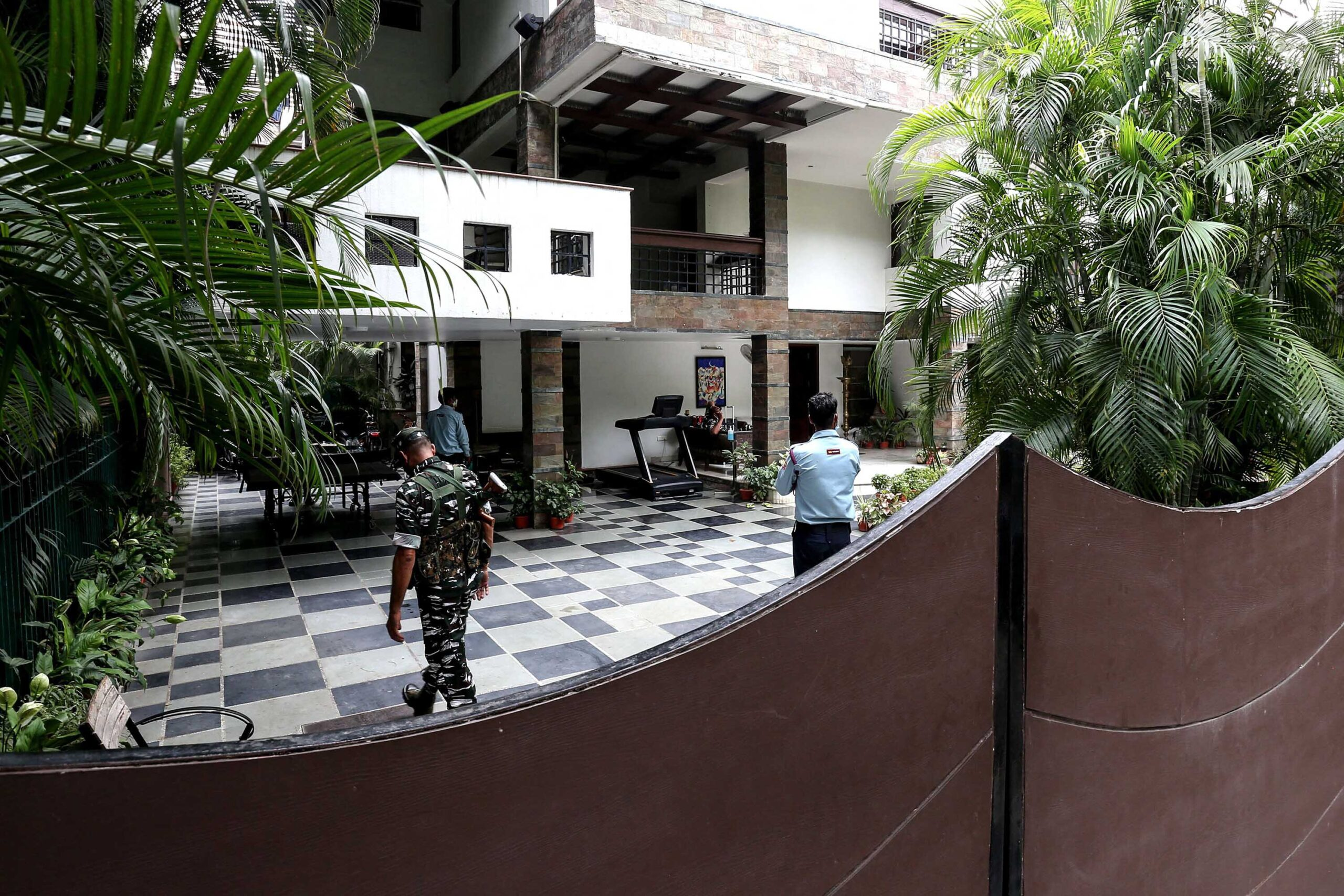 <i>GAGAN NAYAR/AFP/Getty Images</i><br/>Security personnel at the residence of Sudhir Agrawal