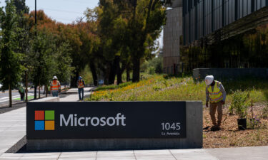 Signage outside the Microsoft campus in Mountain View