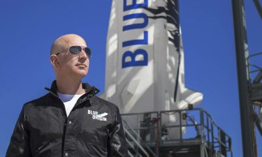 Jeff Bezos at New Shepard's West Texas launch facility before the rocket's first flight in 2015.