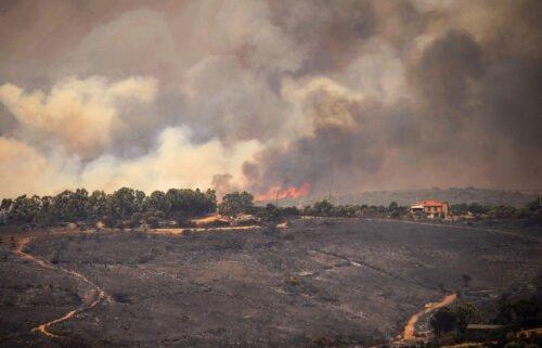 Hills burn on the Italian island of Sardinia