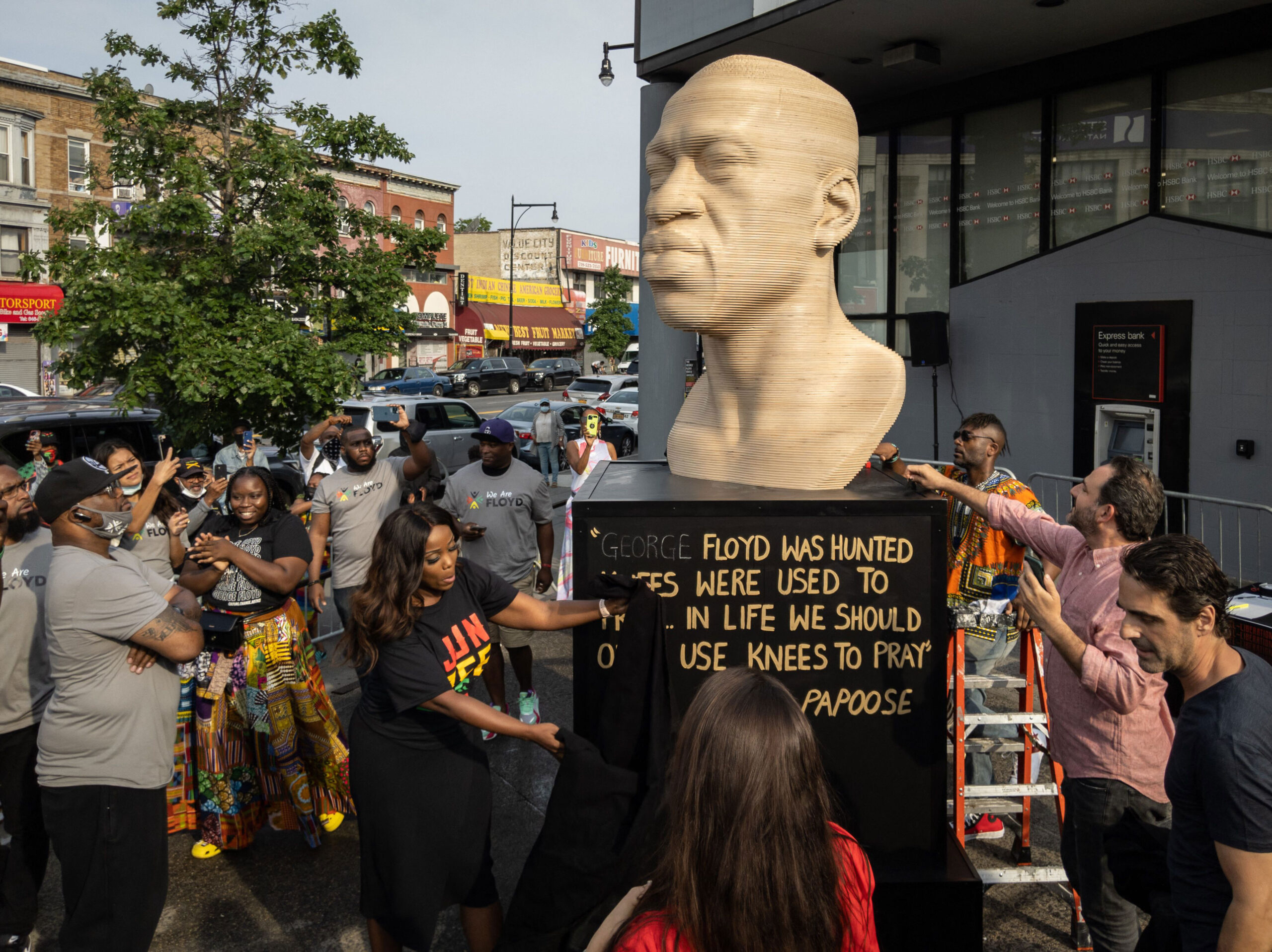 <i>Ed Jones/AFP/Getty Images</i><br/>A statue of George Floyd that has been in Brooklyn's Flatbush neighborhood since Juneteenth will be moved on July 26 -- first back to the studio for refurbishment and then to Manhattan's Union Square Park in September as planned