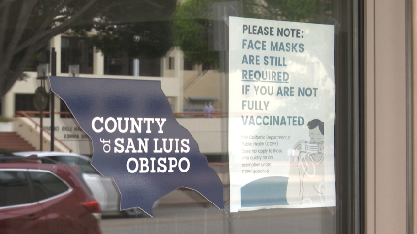 SLO County logo and mask sign