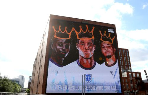 A mural in support of Marcus Rashford
