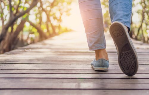 A popular way to practice mindfulness while moving is going on a mindful walk