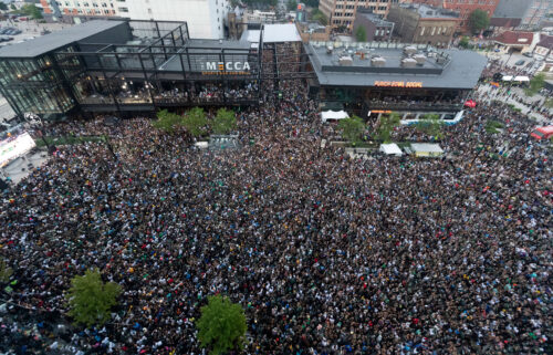Fans pack the Deer District during game six of the 2021 NBA Finals at Fiserv Forum on July 20.  Nearly 500 cases of Covid-19 have been reported following the event.