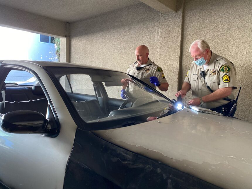 sgt. henebry inspects vehicle after pursuit ends on modoc in santa barbara 1