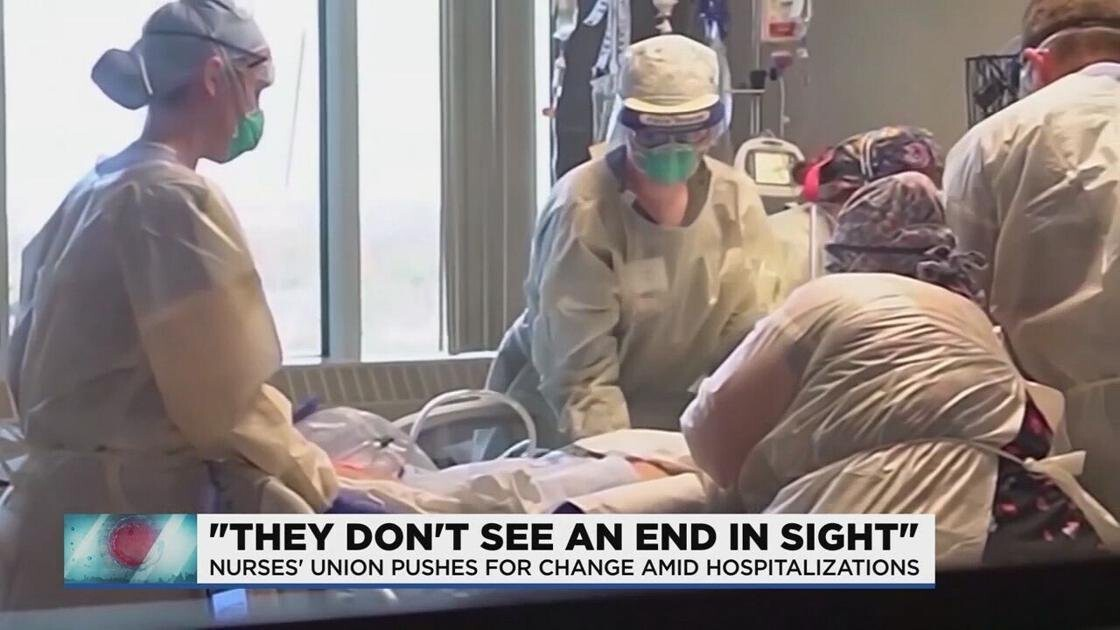 <i>WNEM</i><br/>A surge of coronavirus hospitalizations and a shortage of staff is putting frontline workers at the end of their rope. A problem that may push one nurse's union to go on strike.
